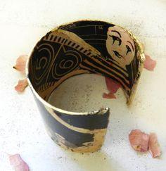 Cuff Bracelet Black and Gold Decoupage Jewelry by AlbinaRose, $36.00