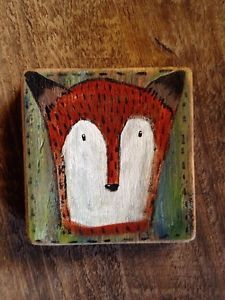 Mr Fox Rustic Original Folk Art Painting Illustration Prim Original A Gambrel | eBay