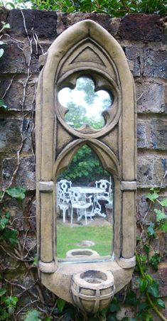 Gothic Arch Mirror stone garden ornament single candle sconce antiqued finish High (M)