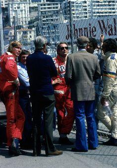 James Hunt, Bernie Ecclestone, Niki Lauda, Jody Scheckter & Emerson Fittipaldi. 1976 - Monte Carlo