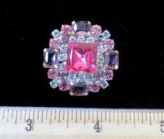 Exceptional Czech Rhinestone Jewel Glass Button Hot Pink Amethyst Crystal | eBay