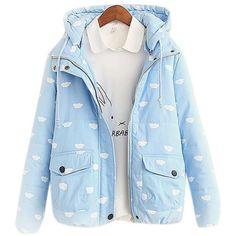 Women's Cute Slim Fitted Cloud Print Short Hooded Padded Puffer Down... ($38) ❤ liked on Polyvore featuring outerwear, jackets, slim fit down jacket, puff jacket, blue jackets, puffer jacket and slim down jacket
