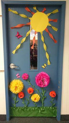 Spring/summer classroom door decor