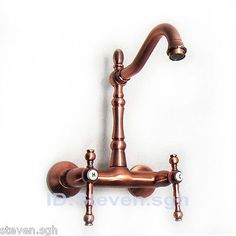 Classic-Antique-Copper-Wall-Mounted-Kitchen-Sink-Faucet-Mixer-Tap-K031