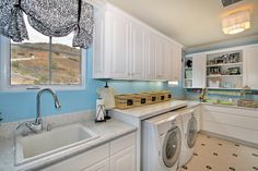 Ceiling, Paint & Blue Wall in Laundry Room Color Theme with Contemporary Style -  White Cabinets,  Floor Tile Design,  Sconce,  Tile Flooring &  Window Treatments