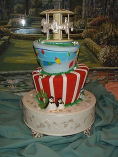 This is a Mary Poppins Wedding Cake (Mad Hatter/Turvy Style) the Grand Floridian did at Walt Disney World. You can order this through the Cake Hotline at 407-824-1951 (Cake Specialists Office). The starting cost is $450+6.5% Tax+18% Gratuity. Prices are subject to change.