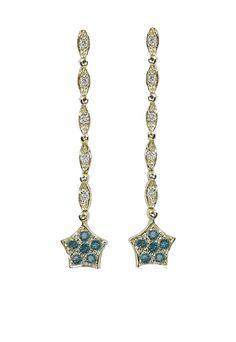 DiVersa Blue and White Diamond Earrings, .20 TCW - Earrings - Women
