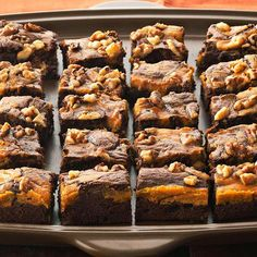 Daily Dish: Marbled Chocolate-Pumpkin Brownies. Get more Daily Dish recipes here: http://bhgfood.tumblr.com/post/30994380757/daily-dish-savor-delicious-fall-flavor-with-these