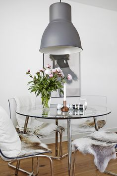 Color coordinated dining rooms - IKEA dining table with white glass ...