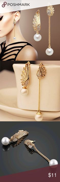Pearl Stud Earrings Simple Style Angel Wings. No offers Jewelry Earrings