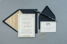 Art Deco Gold Foil Wedding Invitations by Carina Skrobecki Design via Oh So Beautiful Paper (6)