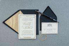 Art Deco Gold Foil Wedding Invitations by Carina Skrobecki Design via Oh So Beautiful Paper (6)