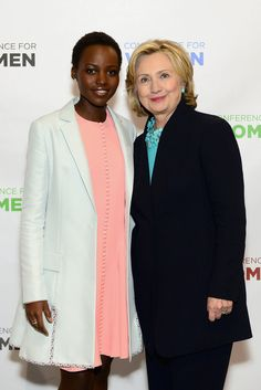 Lupita Nyong'o linked up with Hillary Clinton at the Massachusetts Conference For Women on Thursday.