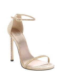 Stuart Weitzman soy and gold tipped python 'Nudist' stiletto sandals