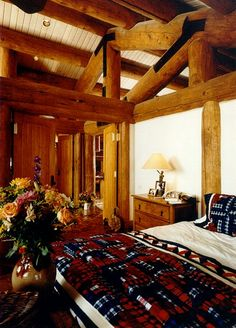 RMLH - Beautiful truss in authentic log home bedroom. #loghome