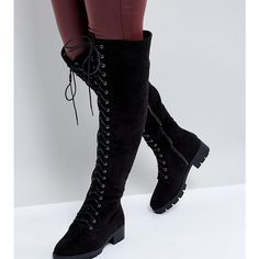 Truffle Collection Wide Fit Lace Up Over Knee Boot (185 RON) ❤ liked on Polyvore featuring shoes, boots, black, over-the-knee lace-up boots, wide boots, wide over the knee boots, black lace up boots and over the knee boots