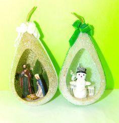 Lot of 2 Vintage Teardrop Plastic Christmas Ornaments Nativity and Snowman   eBay