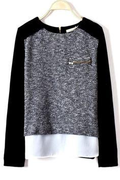 Black Raglan Chiffon Jersey Blouse