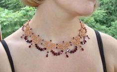 Briana Necklace - Double Needle Netting Stitch - Beadwork Pattern  #heartbeadwork
