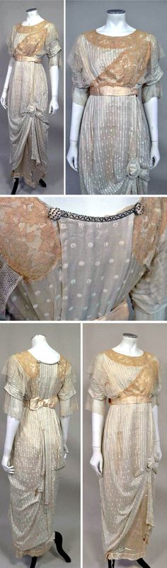 Ecru beaded silk evening dress ca. 1912. Richard Lester Vintage/ebay UK