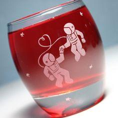 Astronaut Love  Etched Round Rocks Glass  by BreadandBadger, $18.00