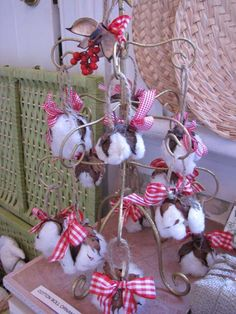 Cotton Boll Ornament - looks lovely with the red! You can purchase Cotton Bolls at CottonClouds.com