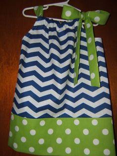 Navy Blue Chevron Pillowcase Dress with by SweetBeginningsDress