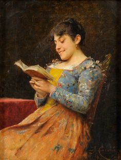 An Amusing Reading (by 1936). Adriano Cecchi (Italian, 1850-1936). Oil on canvas.  Books and Art