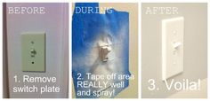 """DIY Home Decor Ideas : Illustration Description Spray paint those old """"yellowy"""" light switch covers for an instant update! -Read More – By Any Means Necessary, Old Lights, Home Fix, Paint Stripes, Up House, Switch Plates, Diy Home Improvement, Light Switch Covers, Home Repair"""