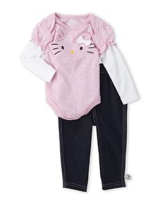 HELLO KITTY (Newborn/Infant Girls) Two-Piece Pink Kitty Bodysuit & Jeggings Set Fall 2015 sale $14.99