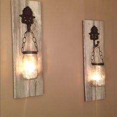 New vintage barn board and mason jar wall sconces Custom designed for you. Pick your barn wood and hardware and I will custom make your scones. Min height is 22 inches by 7 wide. I also do matching chandeliers by order only. French country, vintage farmhouse. Made to order Other