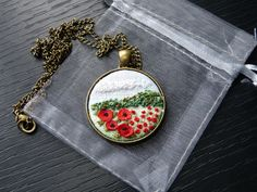 Embroidered poppies, fabric necklace, Floral pendant, Gift for her, Needlework, Jewelry Embroidery 3D Pendant, poppy meadow, rural landscape