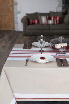 Nappe coton Jean-Vier Donibane Fraise - Cotton tablecloth Jean-Vier Donibane Fraise  >> http://www.jean-vier.com/