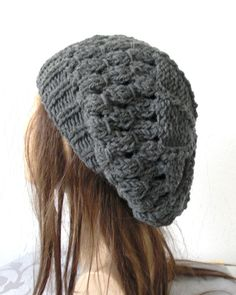 Hand Knit Womens Hat beret Beanie in Charcoal Gray Slouch Slouchy French  Beret Fall Autumn Winter 2311c2fe437e