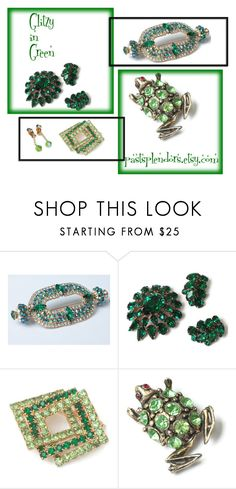 """Glitzy in Green Vintage Rhinestone Jewelry"" by pastsplendors ❤ liked on Polyvore featuring vintage, jewelry, earrings and brooch"