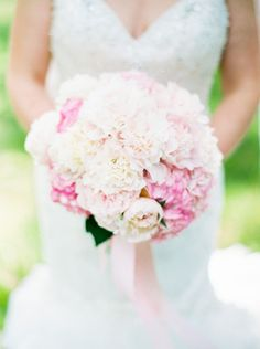 Spring wedding bouquet idea - classic bridal bouquet with pink peonies and hydrangeas {Keepsake Memories Photography}