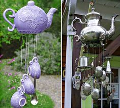 These upcycled Teapot Wind Chimes will look fantastic in your garden.  Add old tea cups, silver spoons, forks or even ladles.