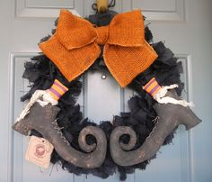 Burlap+Halloween+Wreath+with+Primitive+Witch+Boots+by+RedRobynLane,+$67.00