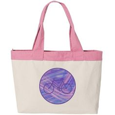 Blue Ribbon Bicycle Circle   Designed for anyone who likes to bike, the feature on this bag is a dark blue bicycle silhouette. The image is placed in the center of an abstract circle background that appears as if ribbons of pink and blue light cascade through it. Unique!