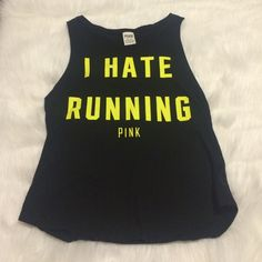 I Hate Running Victoria's Secret Pink tank PINK Victoria's Secret Tops Tank Tops
