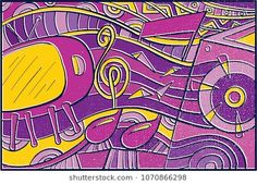 Hand drawn Pop Art Wallpaper Background with Traditional Television, Music Ornament and Colorful Abstract pattern