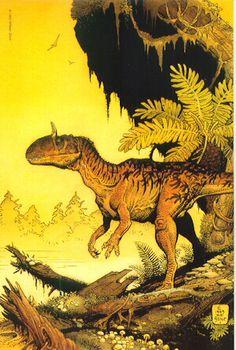 The paleoart of William Stout. Cryolophosaurus ellioti