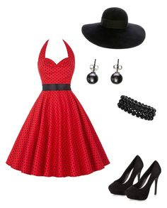 """""""Polka dot"""" by meggrace04 on Polyvore featuring New Look, Eugenia Kim, Bling Jewelry and Black"""