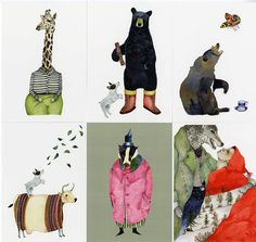 Postcards Set 6  glossy high quality  animal by ChasingtheCrayon