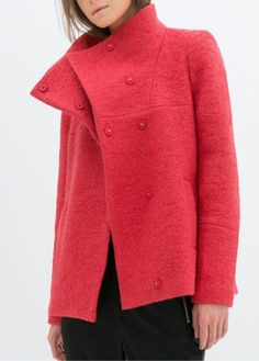 Catching Long Sleeve Turndown Collar Woman Coat Red