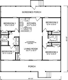 coastal style house plans 1248 square foot home 1 story 4 bedroom and 2 3 bath garage stalls by monster house plans plan 20 333