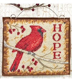 """Hope Ornament Counted Cross Stitch Kit-4.25""""x3.75"""" 14 Count"""