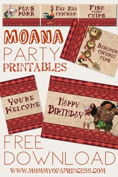Moana inspired free printables available for download plus party ideas, food menu list, cheap DIY decor and cupcake inspiration for your Moana themed luau of birthday party