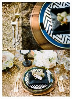 chevron plates and gold sequin table linens