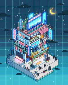 Digital Doodles by Seerlight. Ronald Kuang is an illustrator doing digital doodles and Continue Reading and for more doodles → View Website Isometric Art, Isometric Design, Aesthetic Art, Aesthetic Anime, Art Isométrique, Pixel Art, Arte Copic, Arte 8 Bits, Art Kawaii
